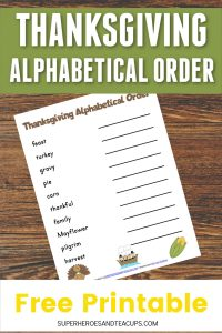 Thanksgiving Alphabetical Order Free Printable