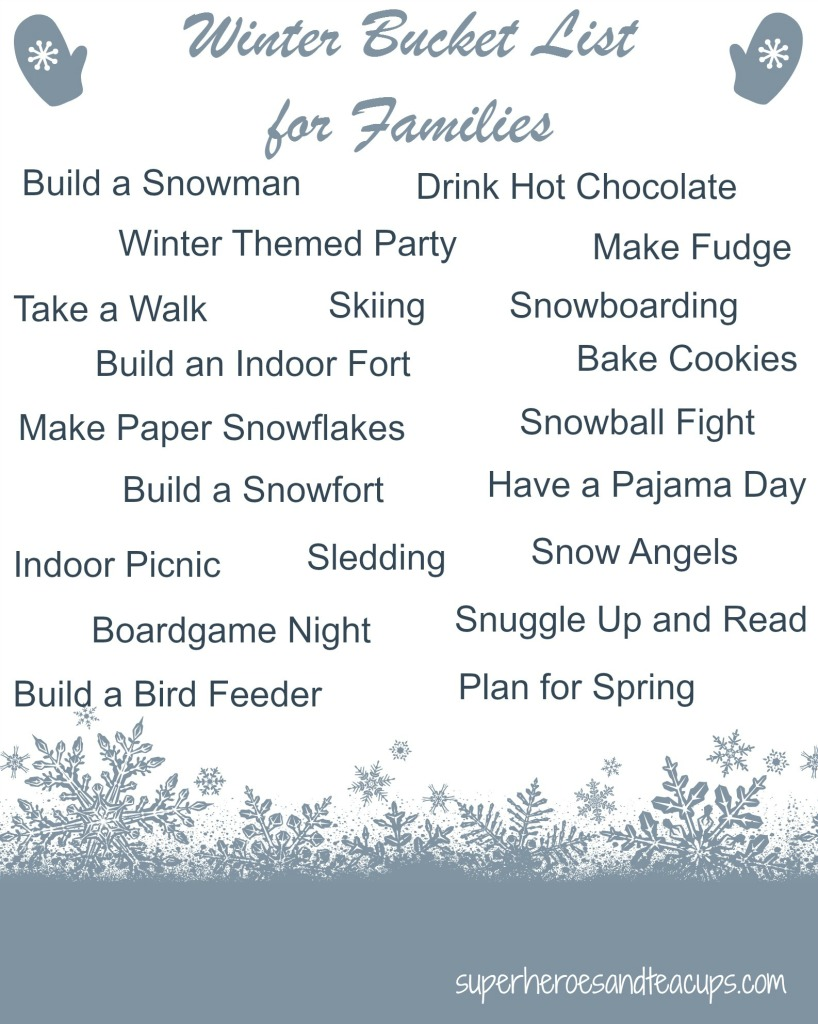 Winter Bucket List for Families Free Printable