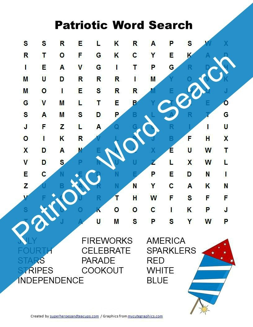 Patriotic Word Search Free Printable