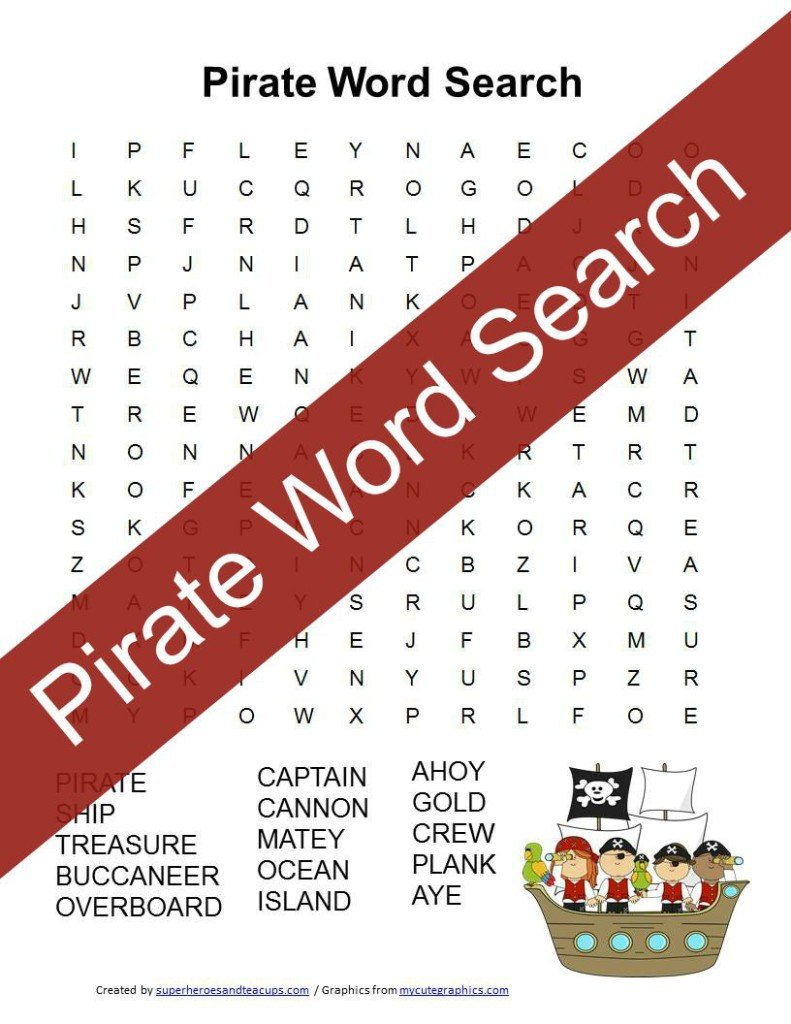 Pirate Word Search Free Printable