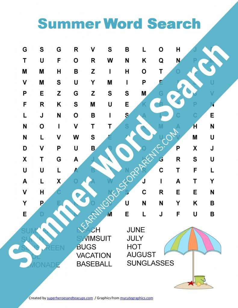 Free Printable Summer Word Search for Kids