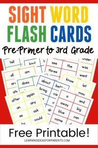 Free Printable Dolch Sight Word Flash Cards Pre-Primer to Third Grade