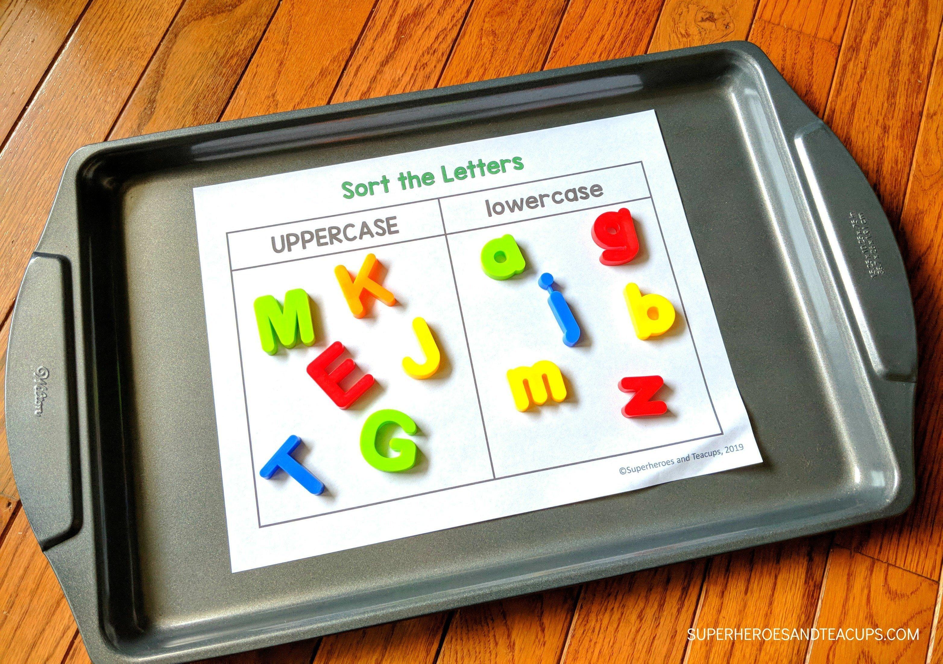 Cookie Sheet Alphabet Activities Sort the Letters