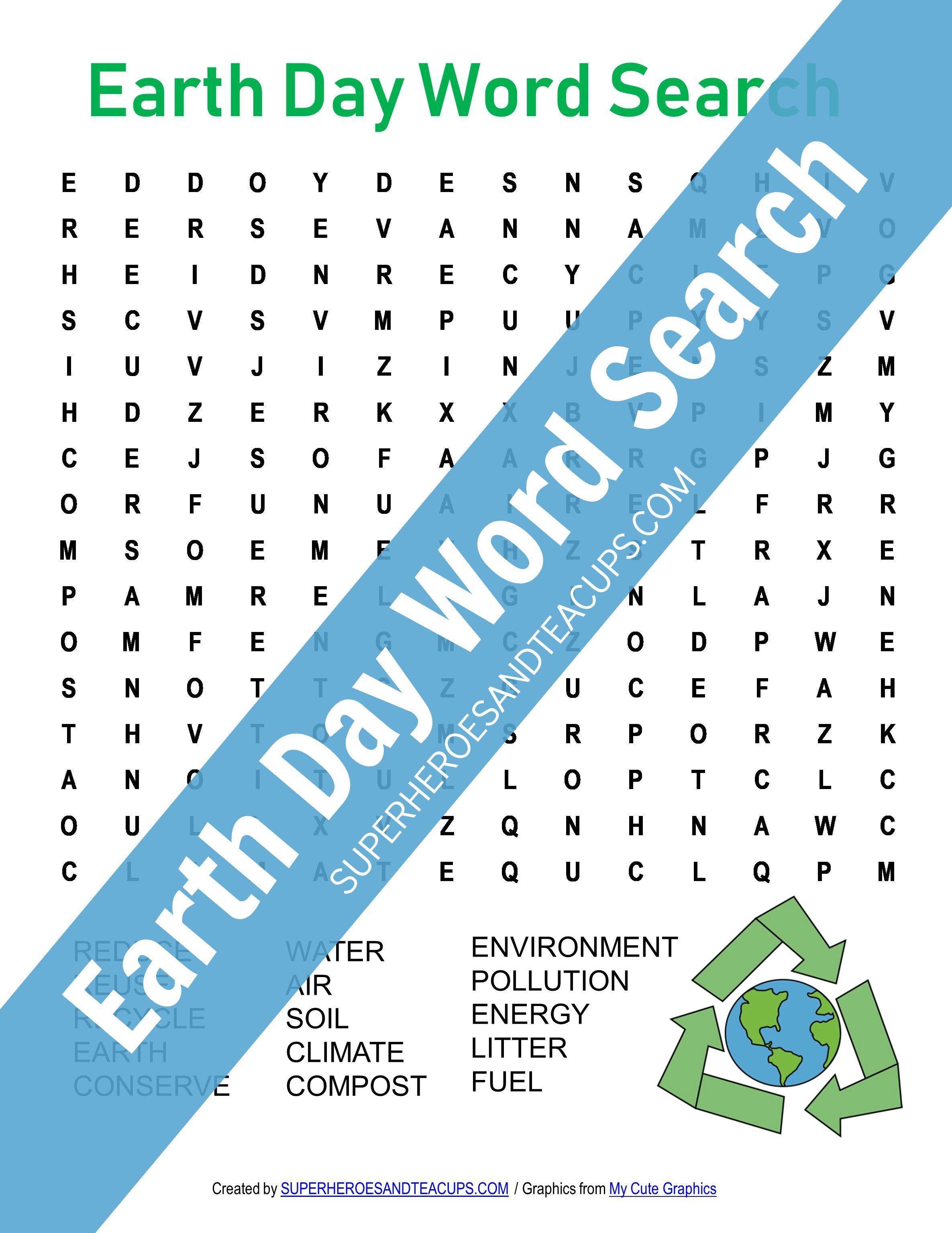 Earth Day Word Search Free Printable for Kids