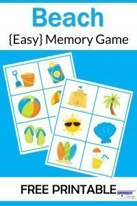 Beach Memory Game Free Printable for Kids