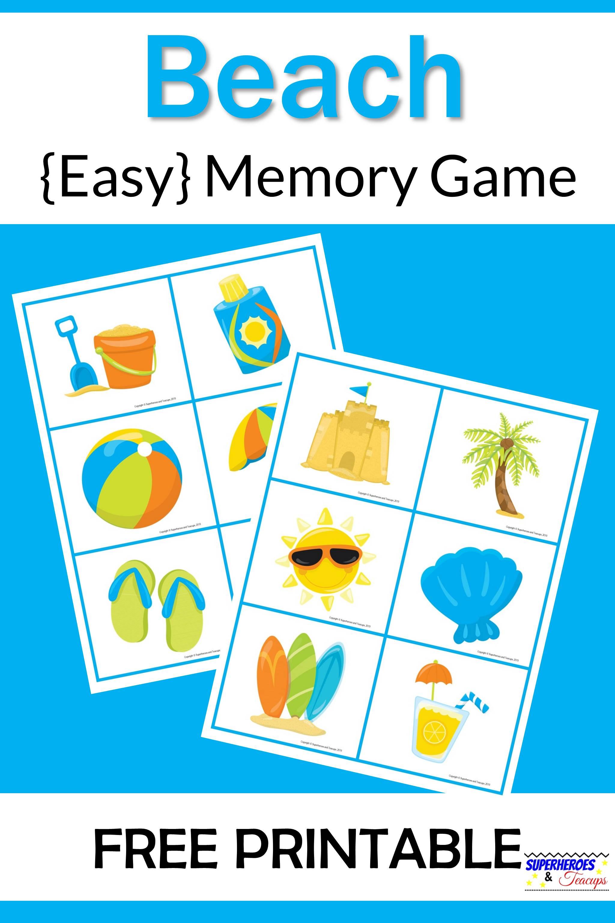 Beach Memory Game Free Printable for Kids
