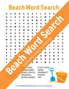 Beach Word Search Free Printable