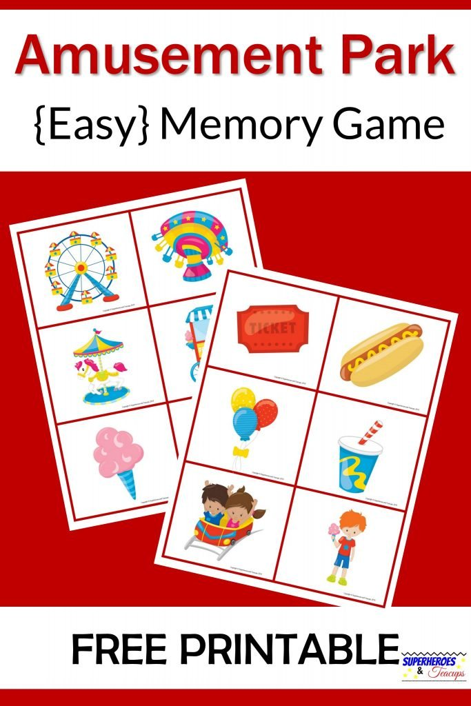 Amusement Park Memory Game Free Printable