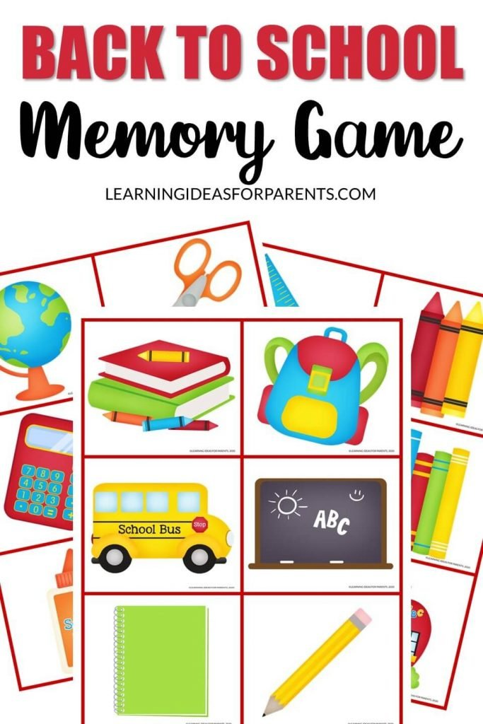 Free Printable Back to School Memory Game for Kids