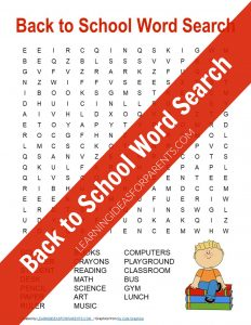 Free Printable Back to School Word Search