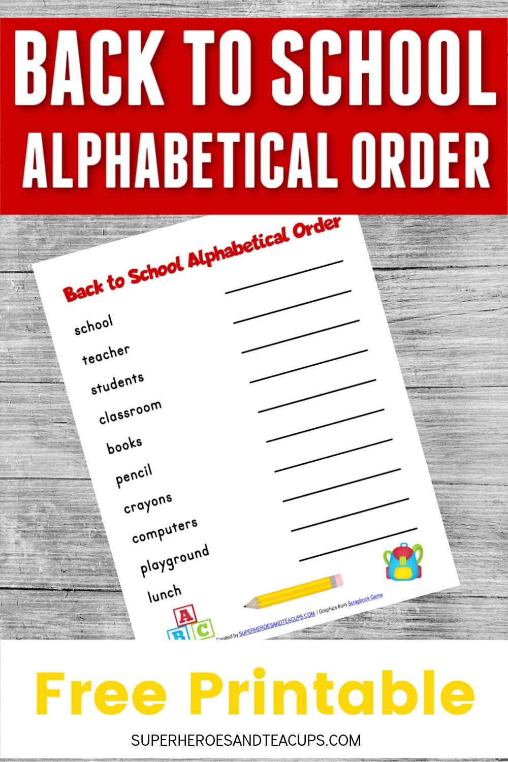 Back to School Alphabetical Order Free Printable