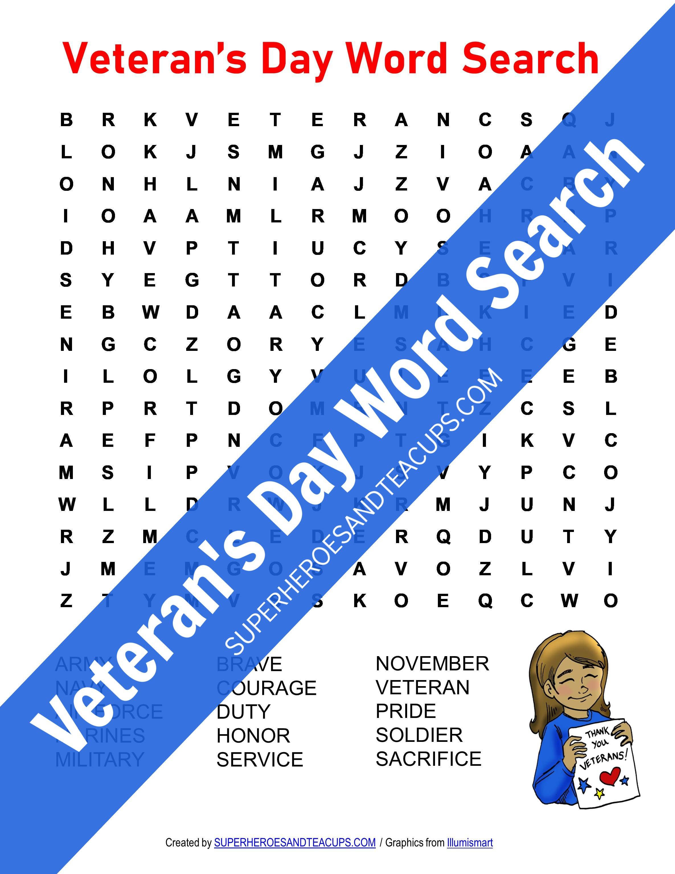 Veteran's Day Word Search Free Printable