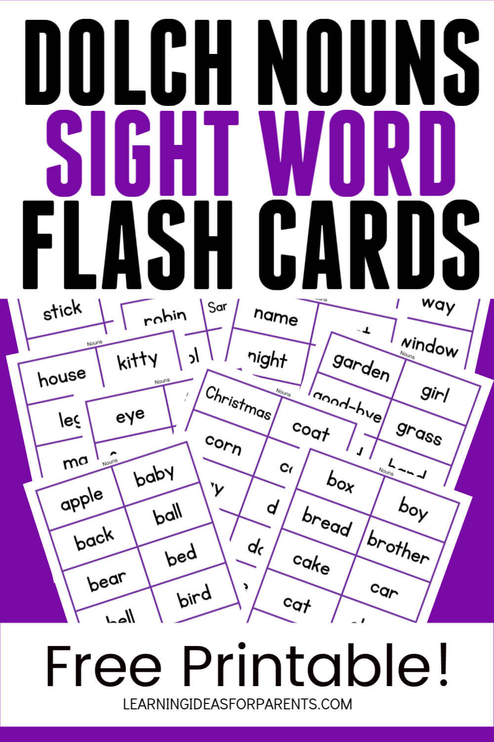 Free printable Dolch nouns sight word flash cards