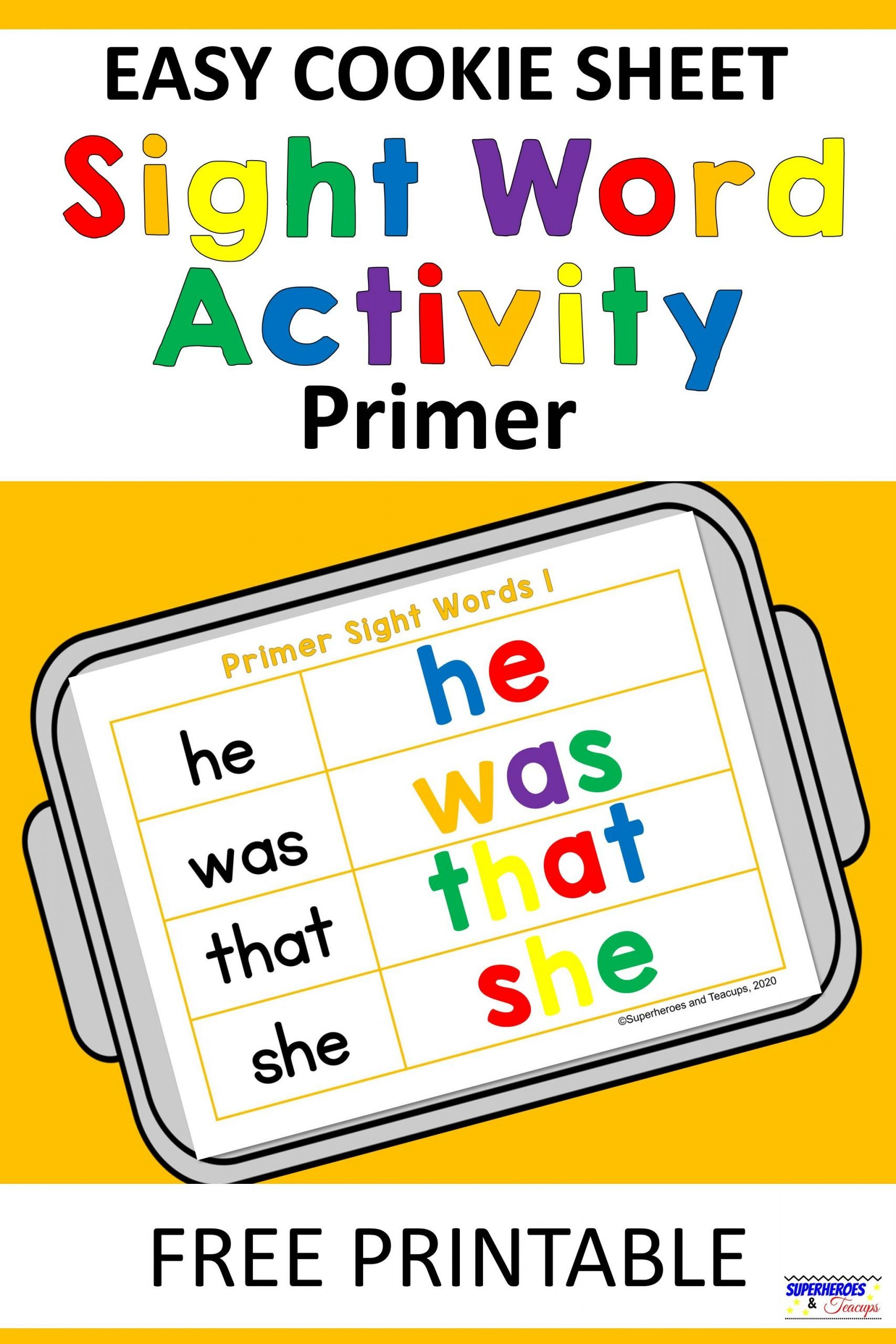 Cookie Sheet Primer Sight Word Activity