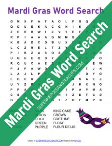 Mardi Gras Word Search Free Printable