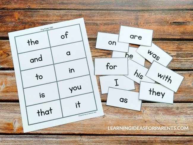 Free Printable Fry First 100 Flash Cards