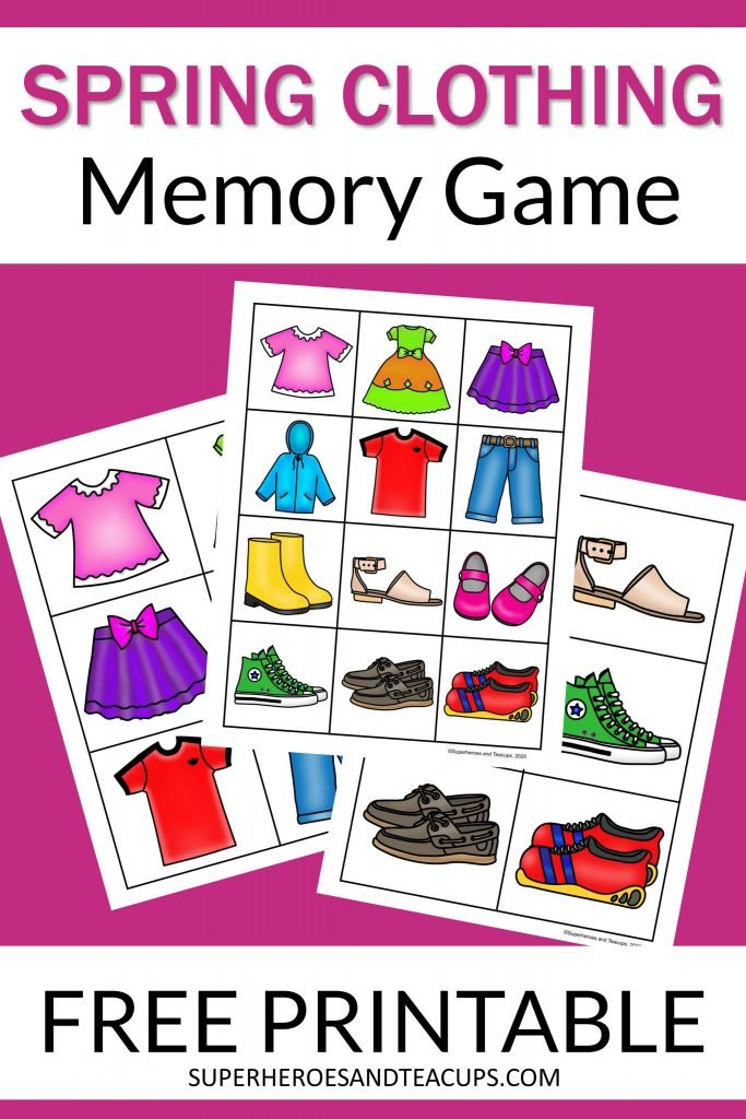 Printable spring clothing memory game for kids. Three pages with either twelve or six colorful images on each page.