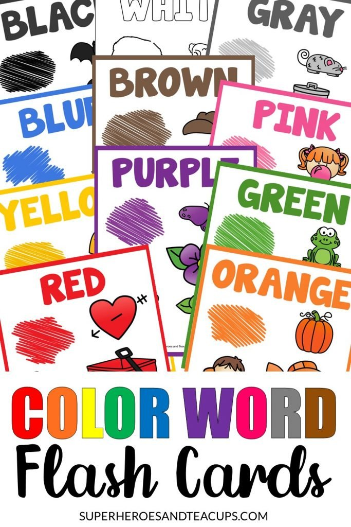 Color words flash cards free printable.