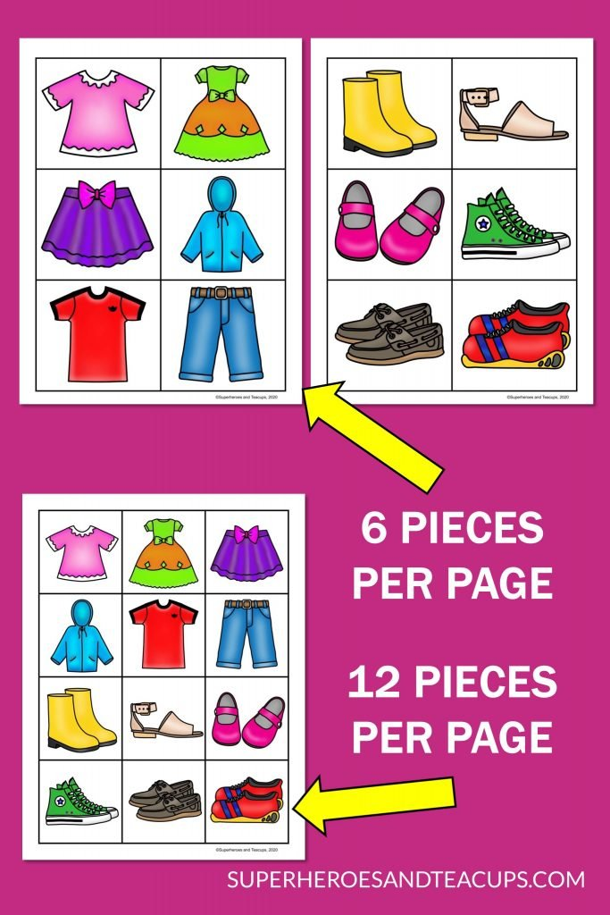 Spring clothing memory game free printable with two different size pieces.