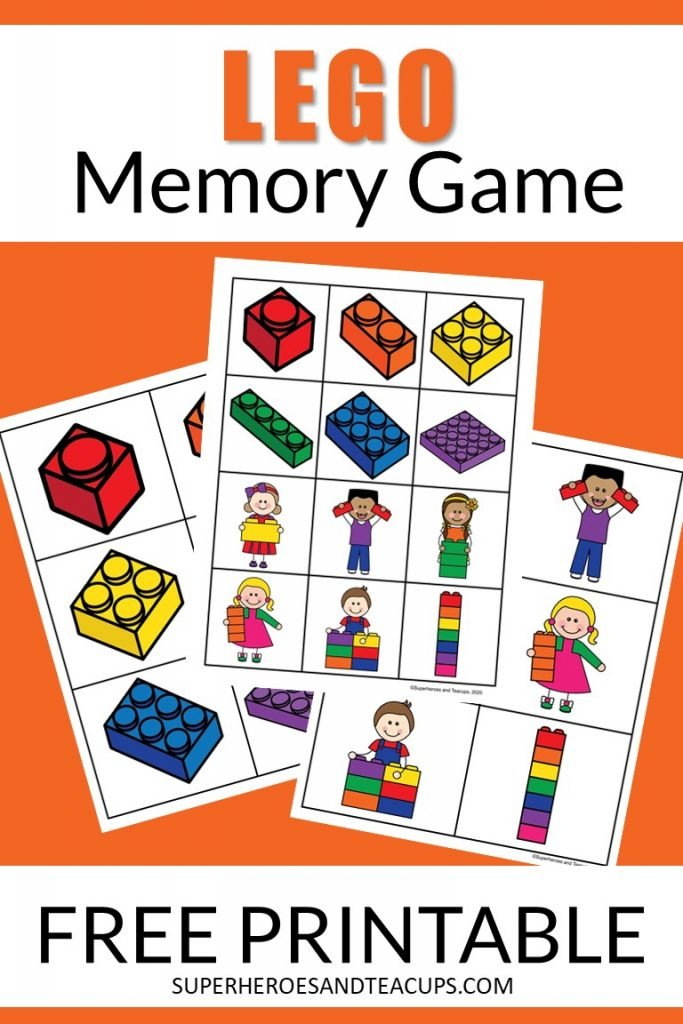 Free printable LEGO memory game for kids.
