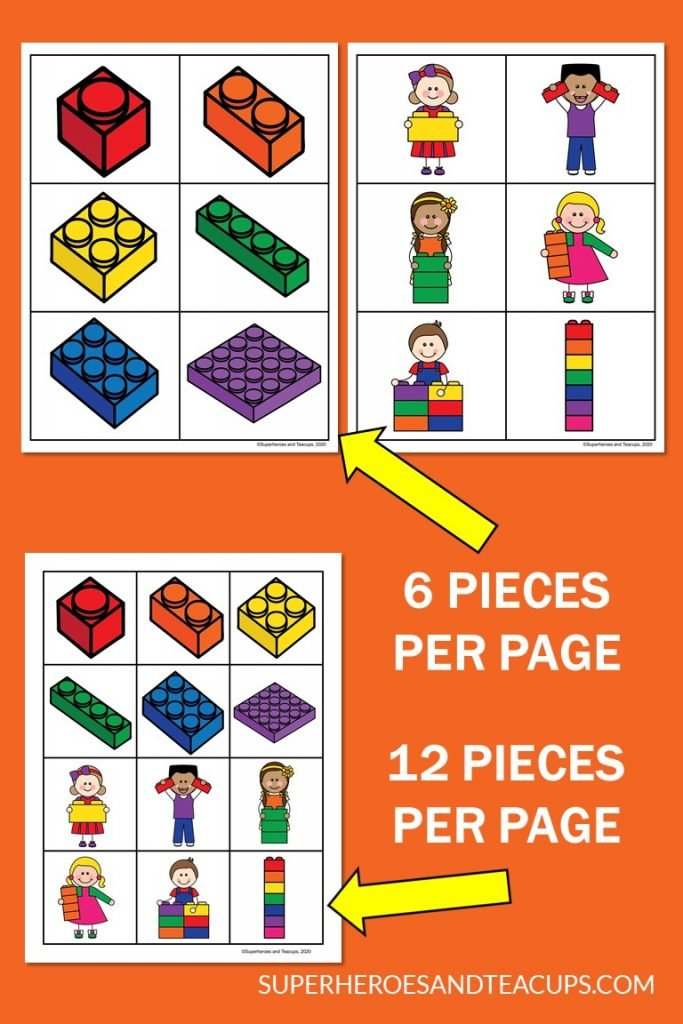 Examples from the LEGO matching game free printable.