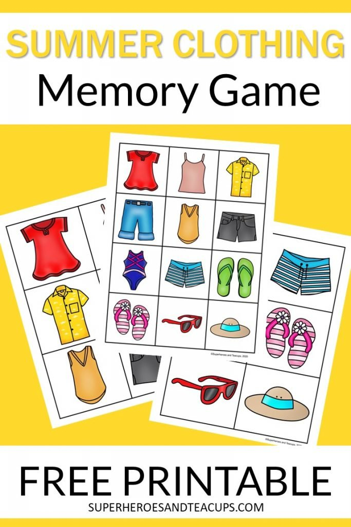 Free printable memory game for kids with pictures of summer clothing.