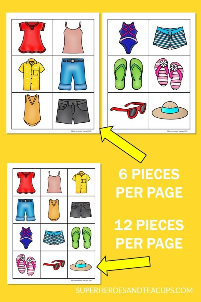 Summer clothing memory game for kids.