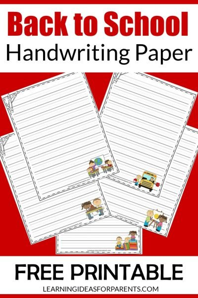 Free printable back to school themed handwriting paper for kids.