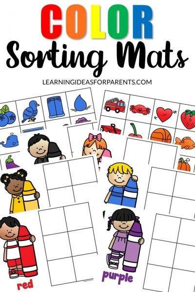 Free printable color sorting mats