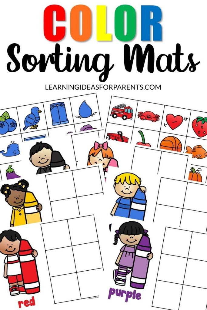 Free printable color sorting mats.