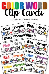 Color Word Clip Cards Free Printable for Kids