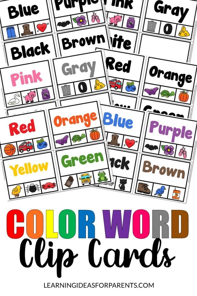 Clip cards for learning color words and fine motor practice.