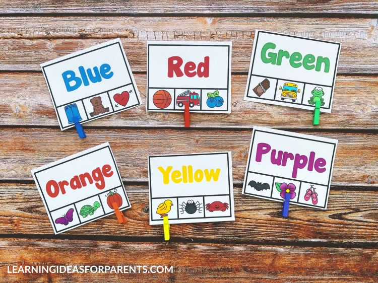 Free printable color word clip cards for kids with words printed in colors.