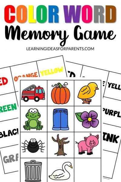 Free printable color word memory game for kids