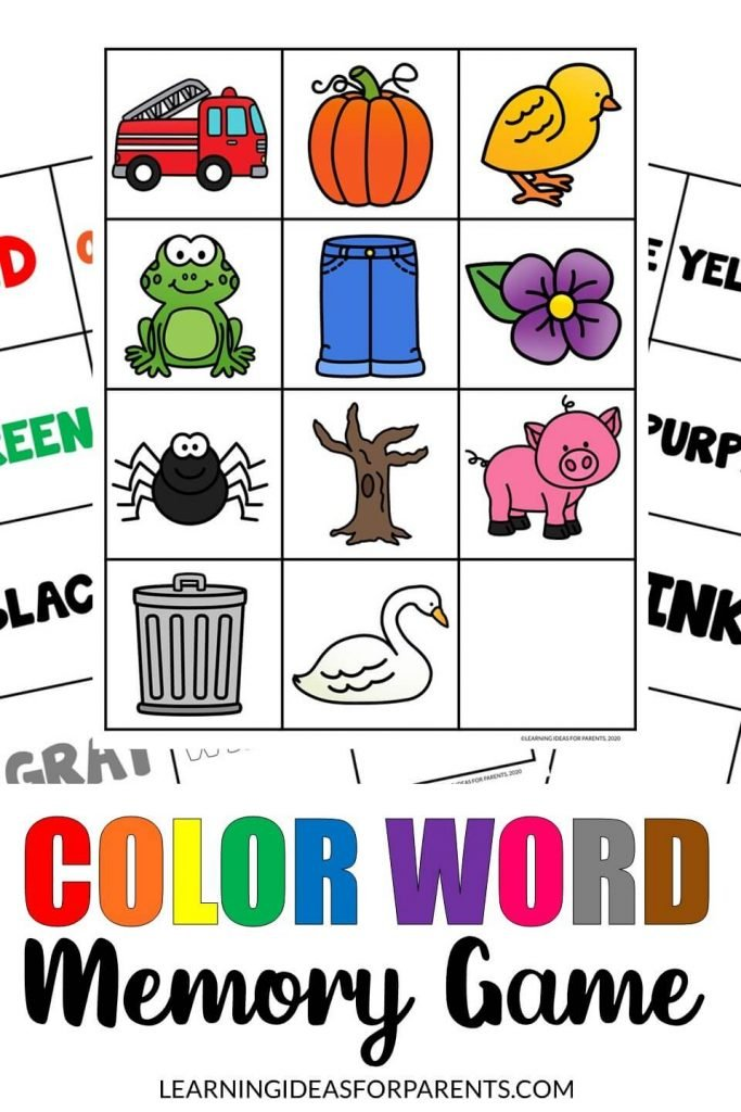 Color word memory game free printable for kids