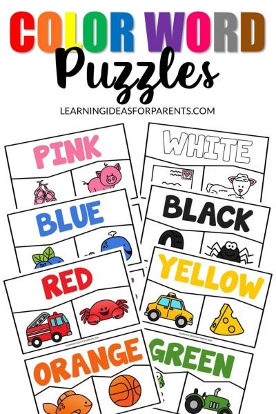 Printable puzzles for matching color words to colored objects.