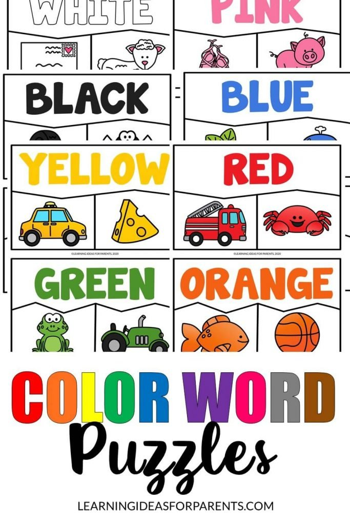 Free printable puzzle for 11 color words.