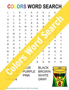 Free printable colors word search for kids.
