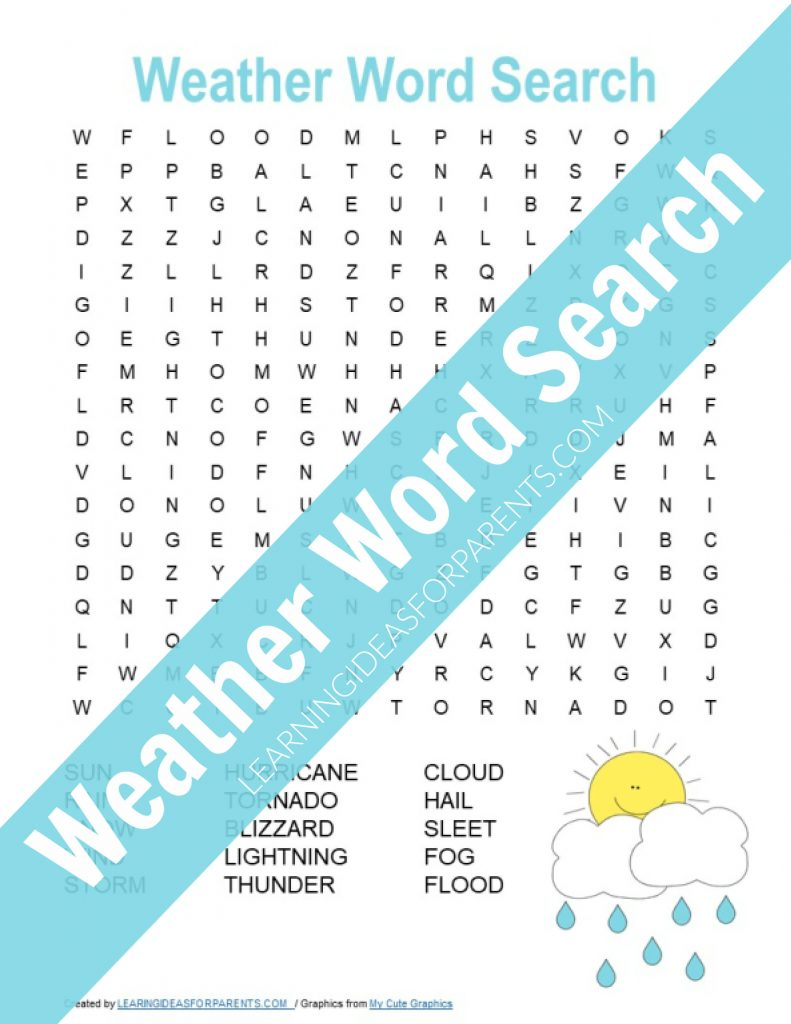 Free printable weather word search for kids.