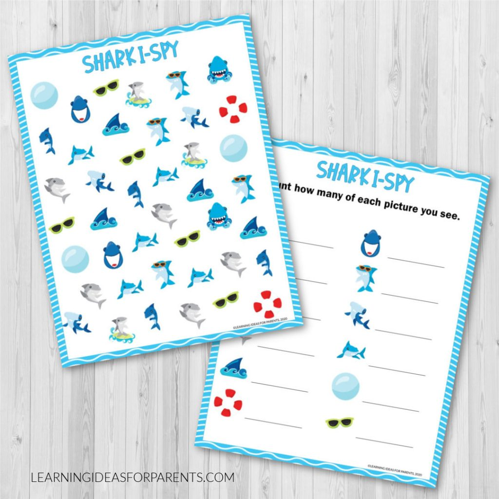 Free printable shark I spy game for kids.