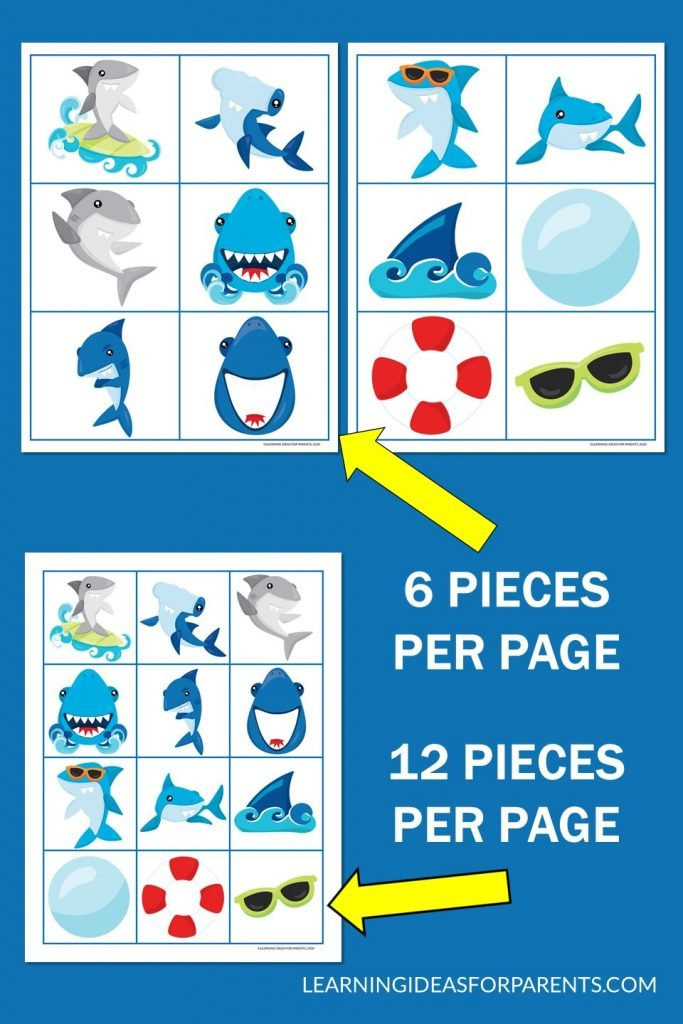 Free printable shark memory game for kids with two different size pieces.