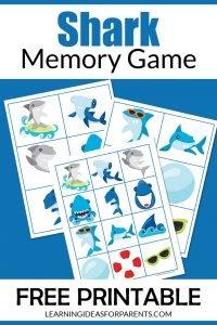 Free printable shark memory game for kids.