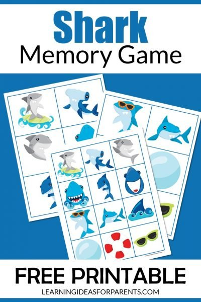 Free printable shark memory game for kids.