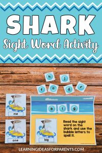 Free printable shark themed sight word activity for preschoolers.