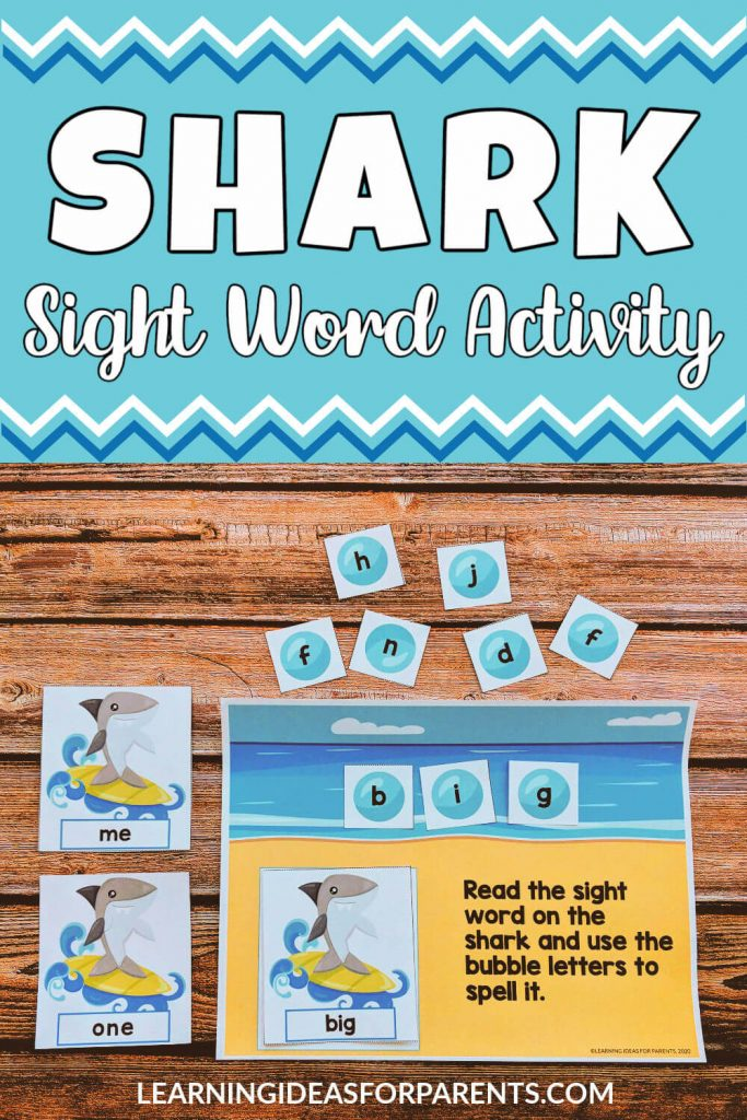 Free printable shark themed sight word activity for kids with pre-primer and primer words.