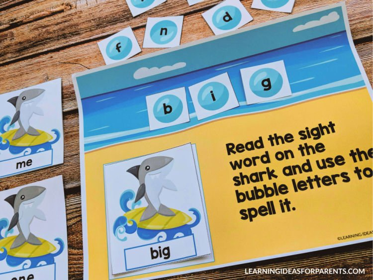 Shark sight word game for kids.