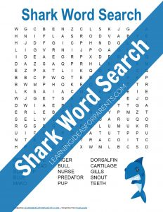 Free printable shark themed word search for kids.