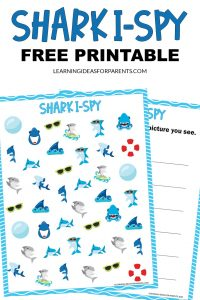 Free printable shark I spy activity for kids.