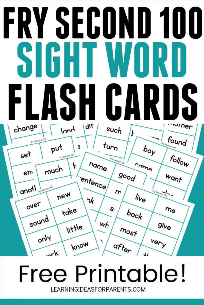 Free printable Fry second 100 sight word flash cards.