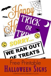 Free printable Halloween signs for your family.